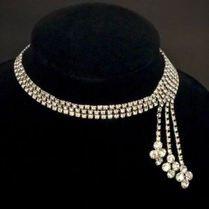 Jewelry - Vintage, Stunning Rhinestone Side-drop Necklace